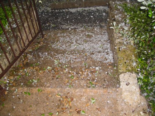 Our front steps, covered in hail!